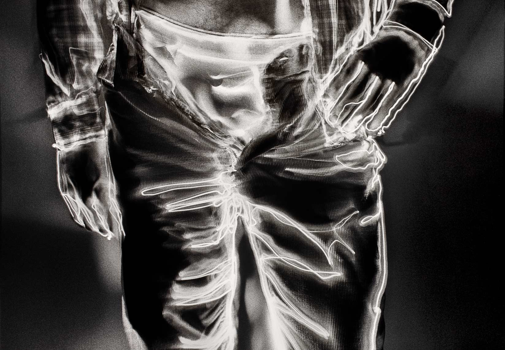 David Lebe; Unzipped,1981, light drawing, black and white photograph
