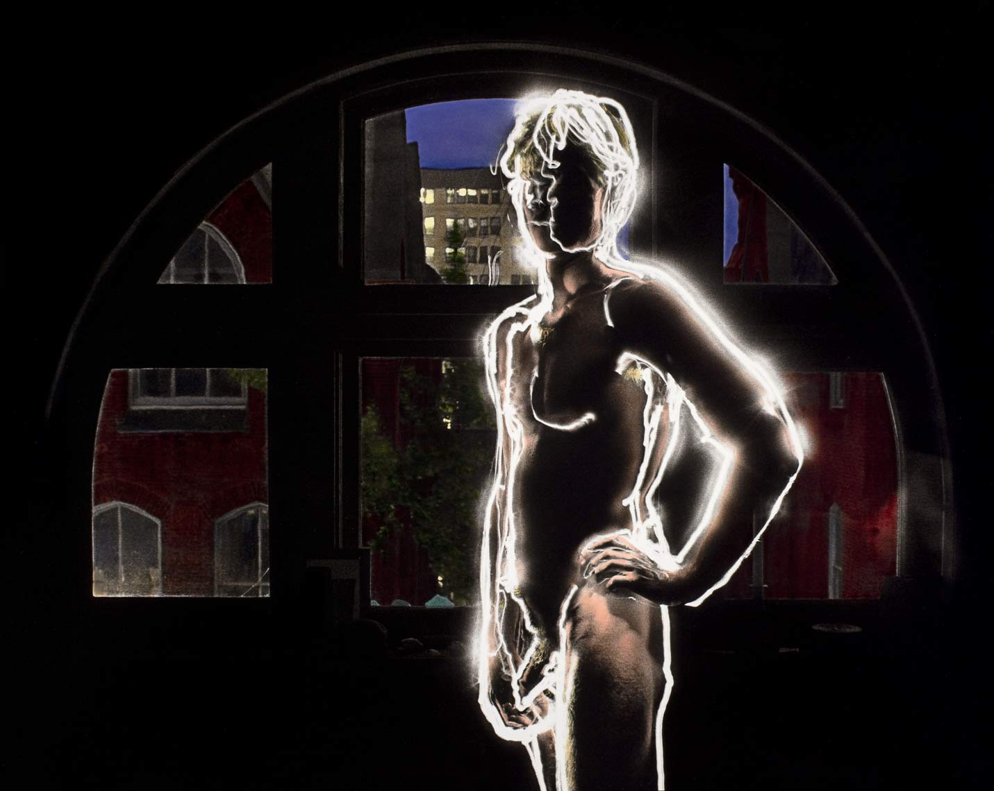 David Lebe; Wayne At The Window, 1980, male nude, light drawing, hand colored photograph