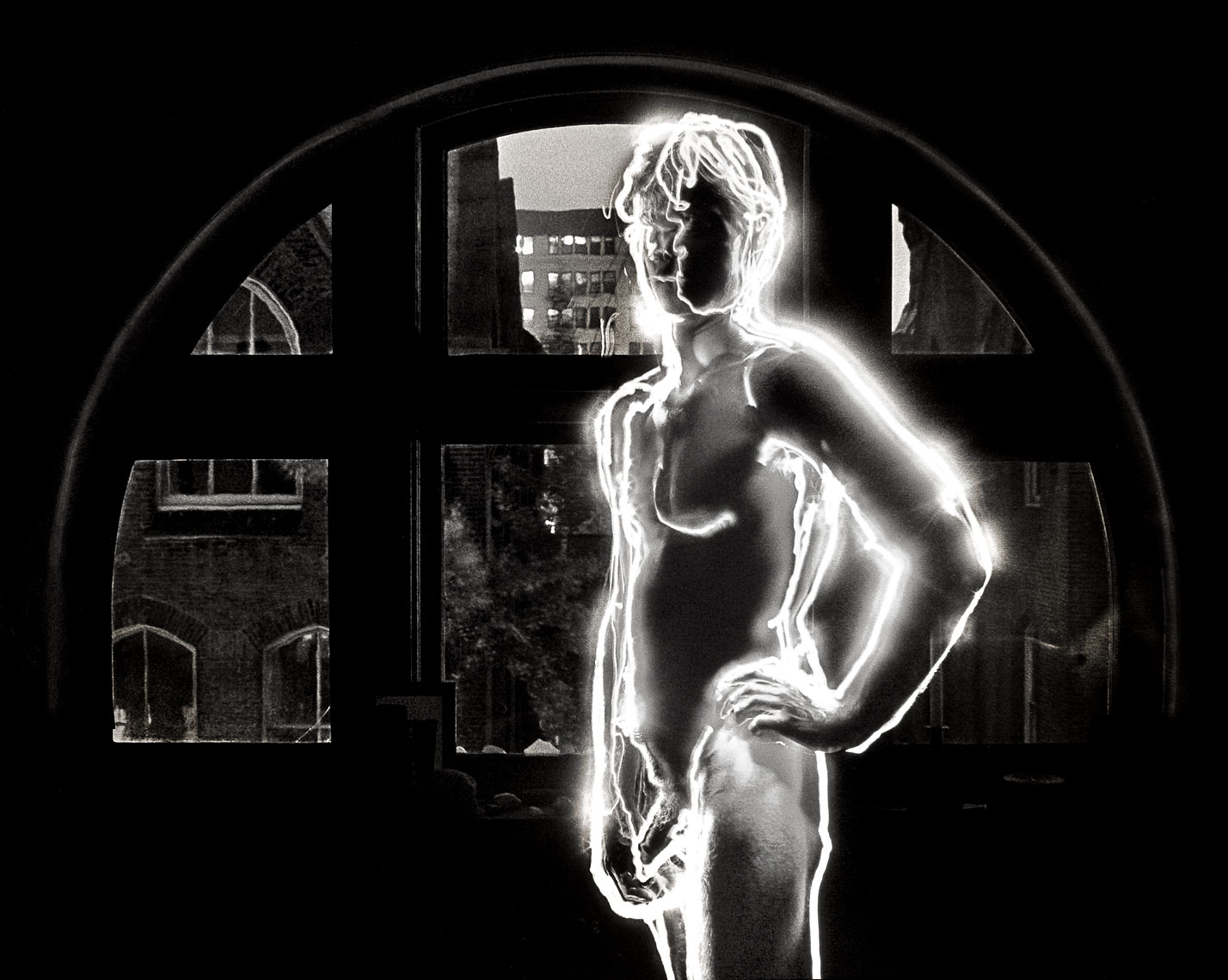 Wayne-at-the-Window-1980-V2-male nude, light drawing, black and white photograph