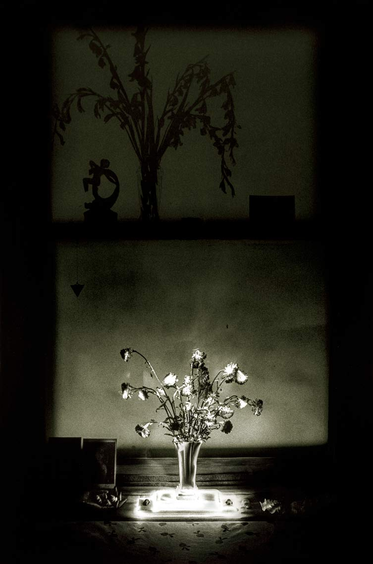 David Lebe; Window 1982, v2, light drawing, black and white photograph